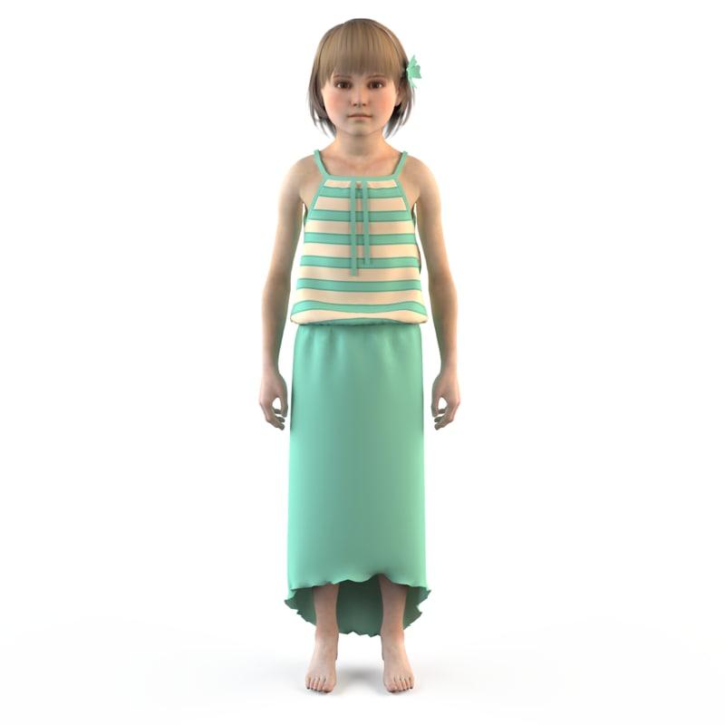 fashion child dressed 3d 3ds