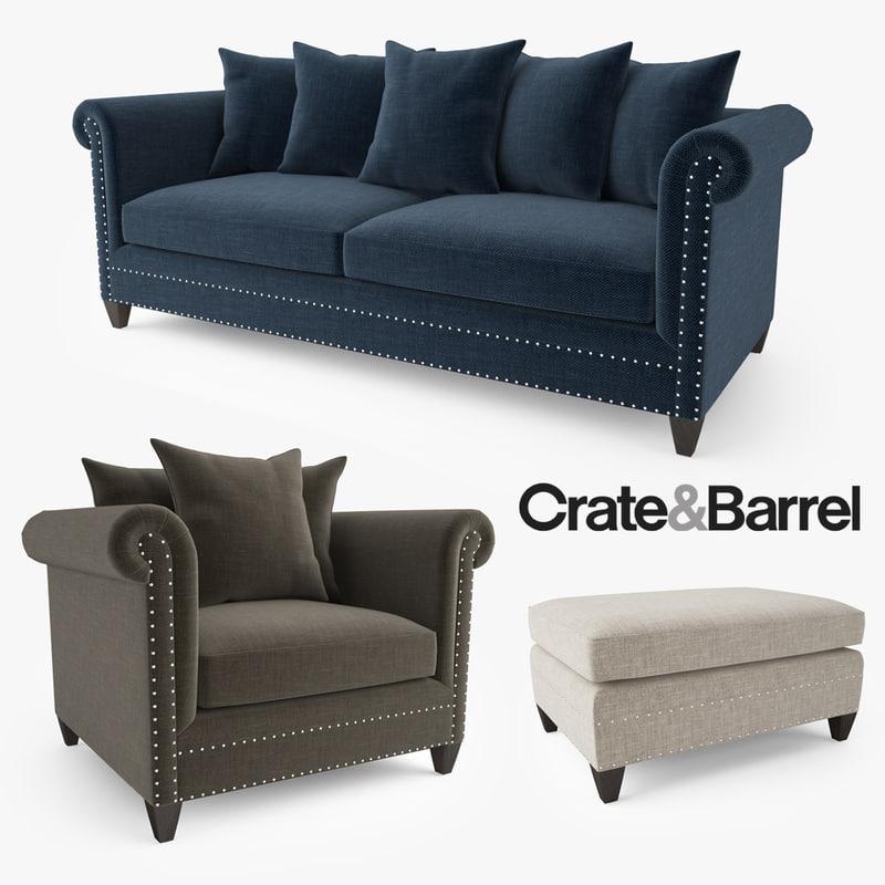 crate barrel durham sofa 3d max