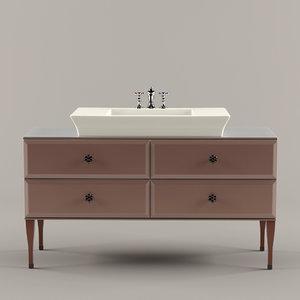 3d model vintage mobile lavabo