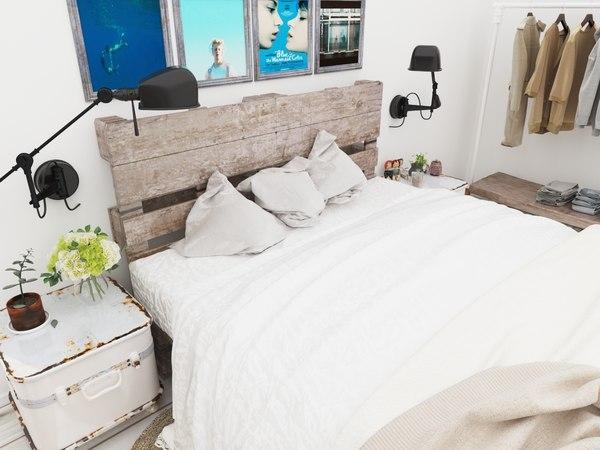 bedroom home white 3d model