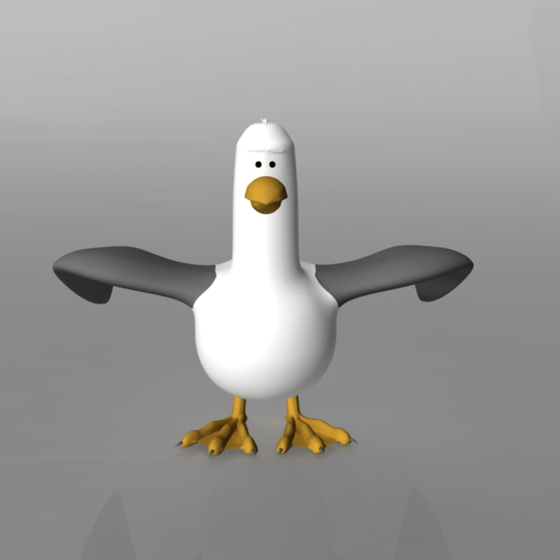 gull seagull rigged 3d model