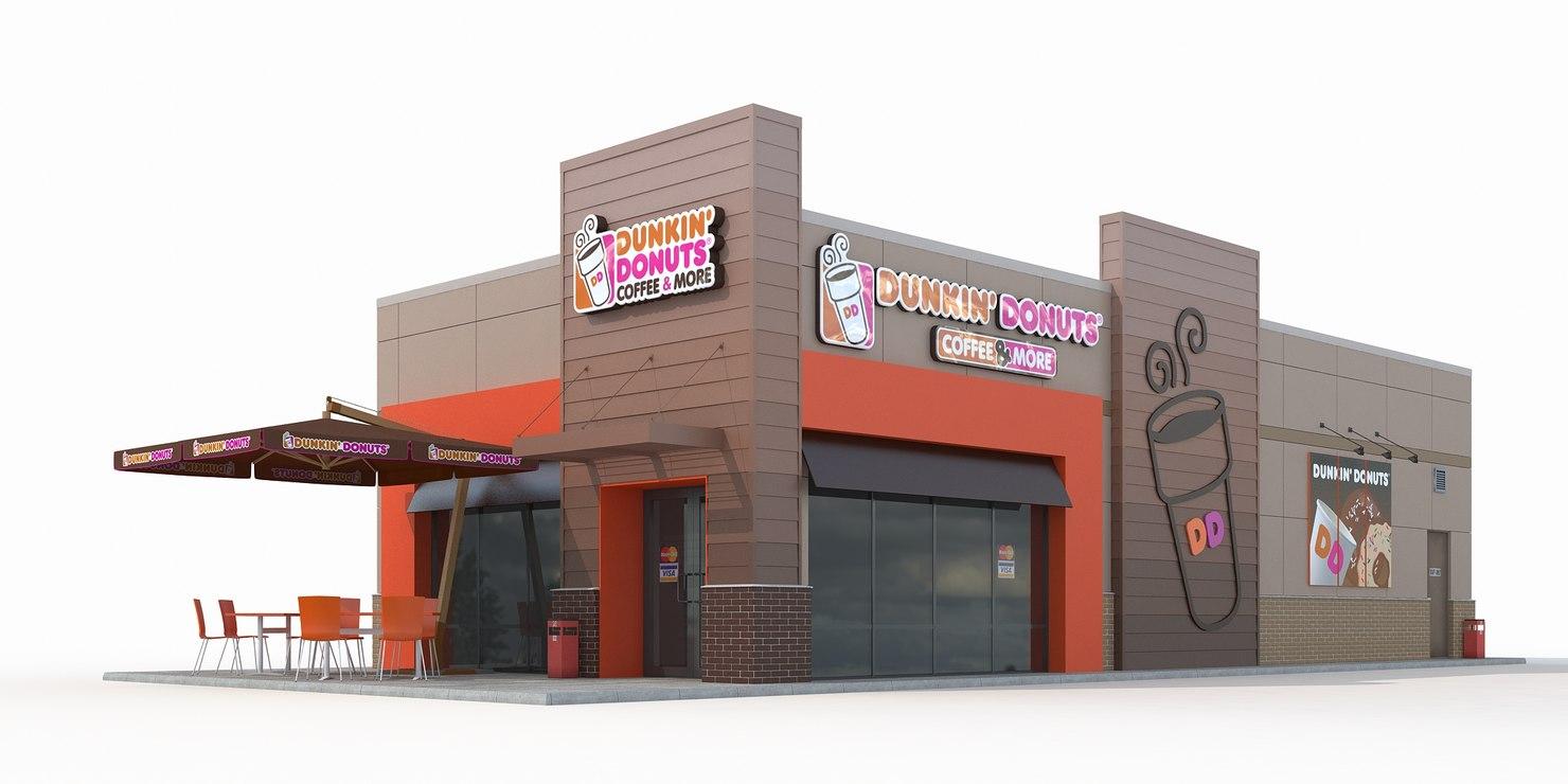 Dunkin donuts restaurant 3d max for Restaurant 3d max