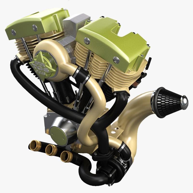 3d model of engine motor motorcycle