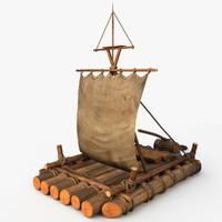 wooden raft 3d model