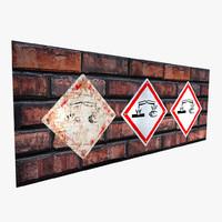hazard sign - 3d model