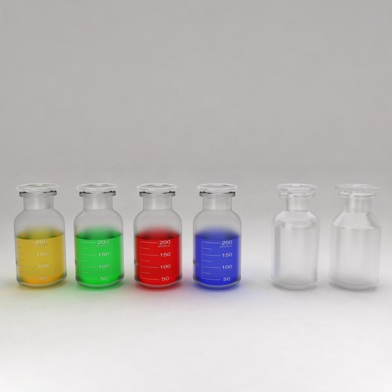 3d chemical bottles liquid model