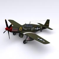 p-51 mustang fighter p-51b 3d model