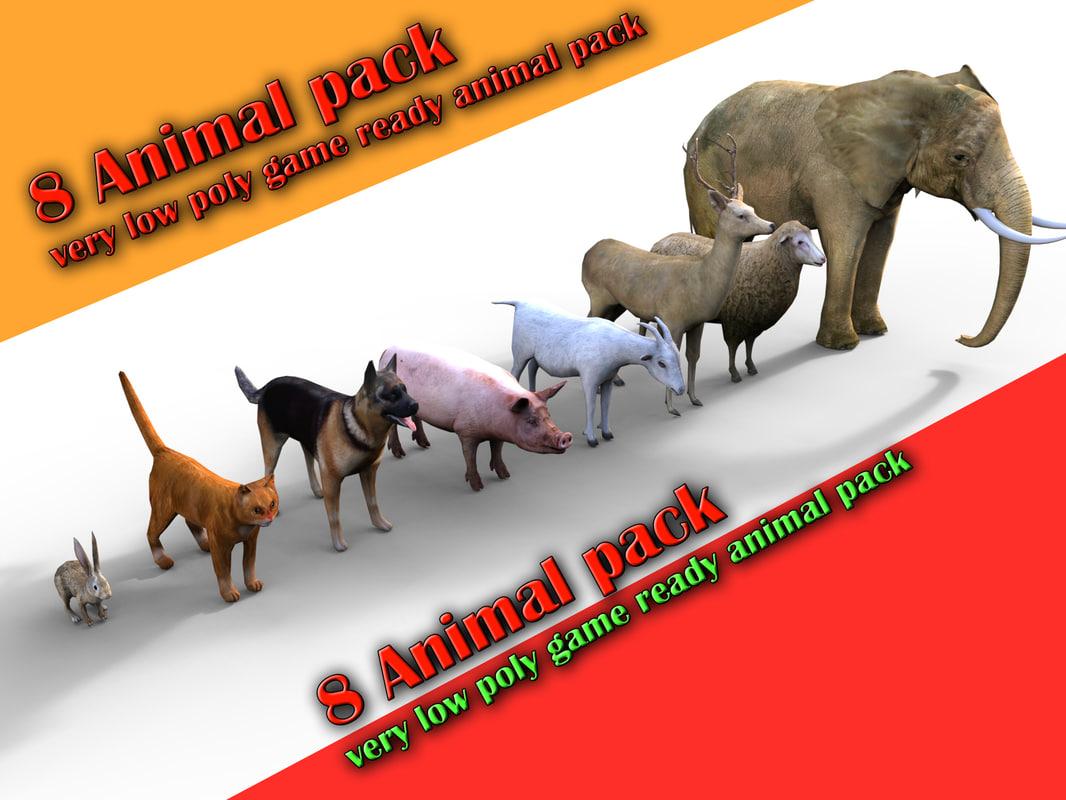 8 animal 3d model