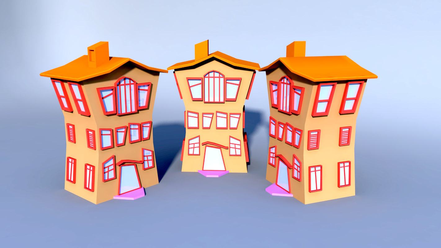 3d colorfull cartoon building model
