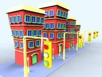 3d 3ds colorfull cartoon building