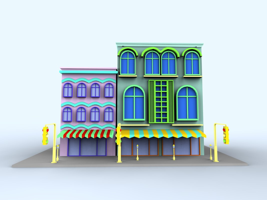 3d colorfull cartoon building