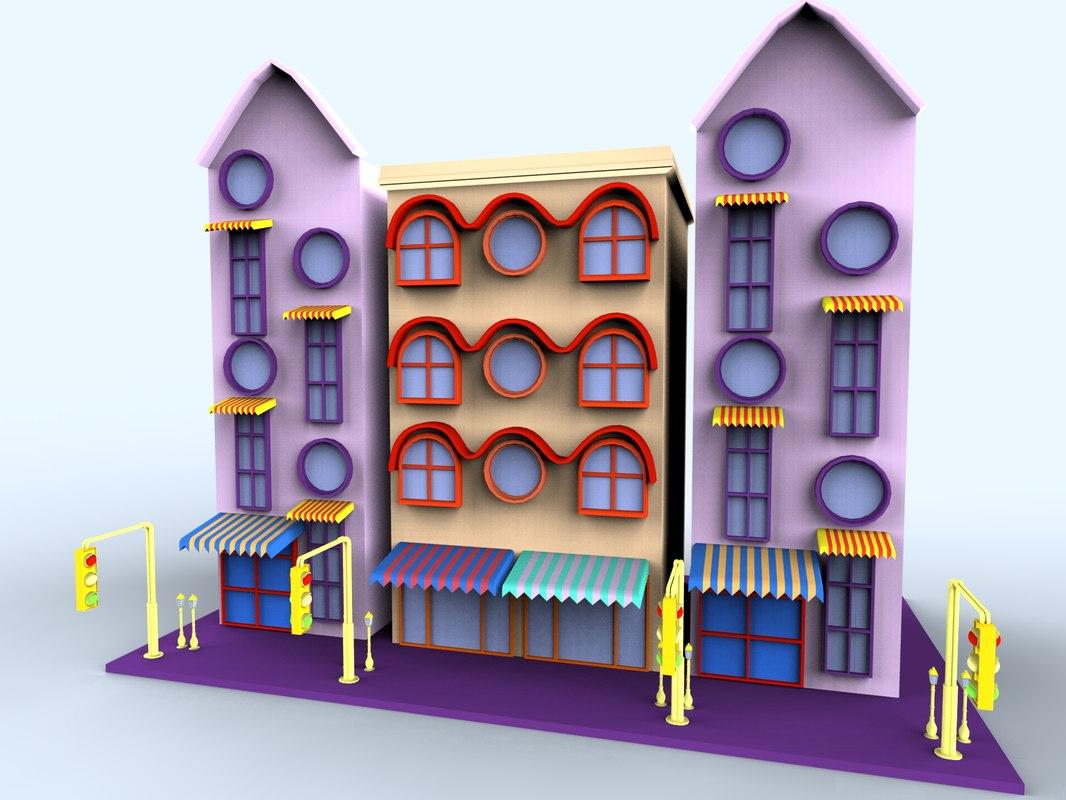 3d model colorfull cartoon building