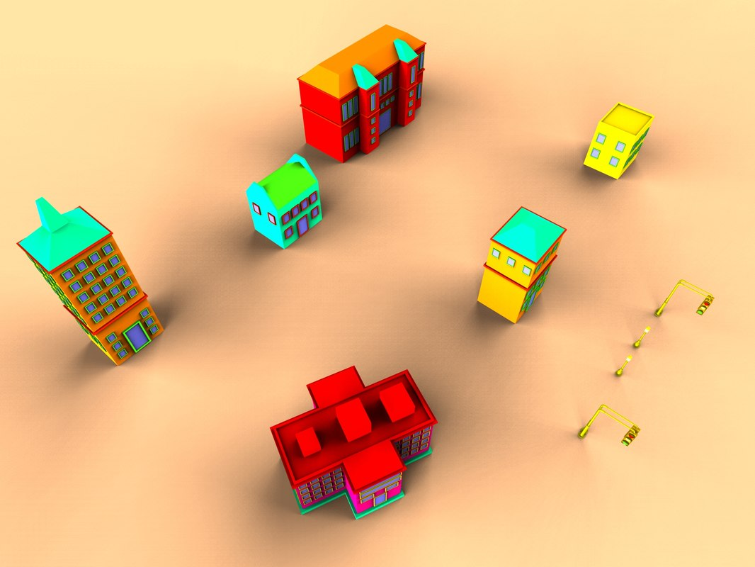 free colorfull cartoon house 3d model