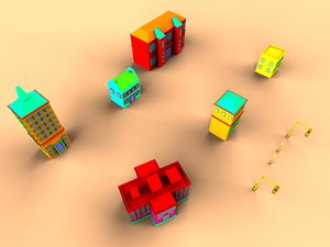 free colorfull cartoon house 3d model