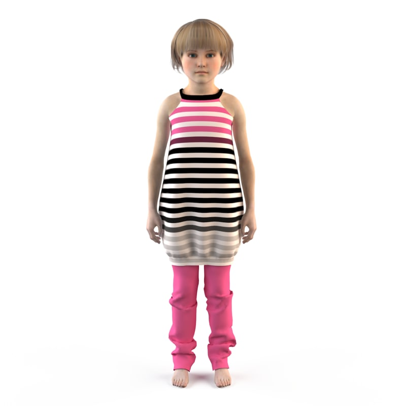 3ds max fashion child dressed