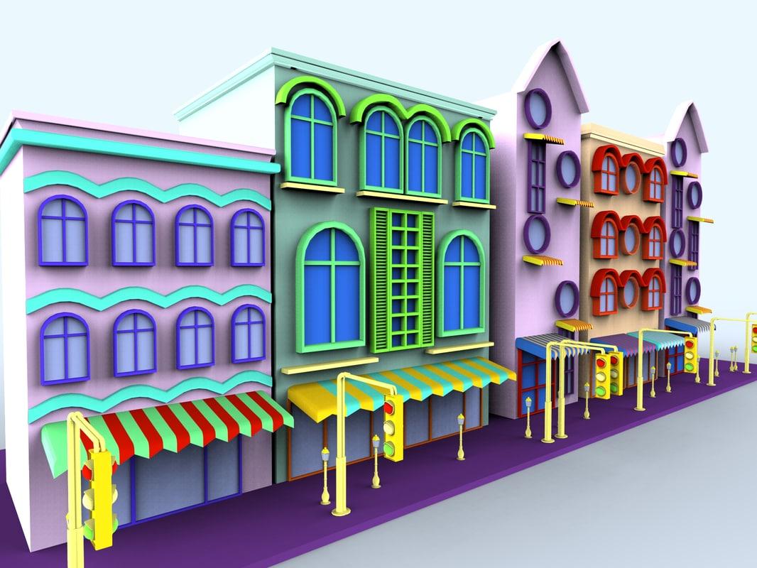 colorfull cartoon building 3d model