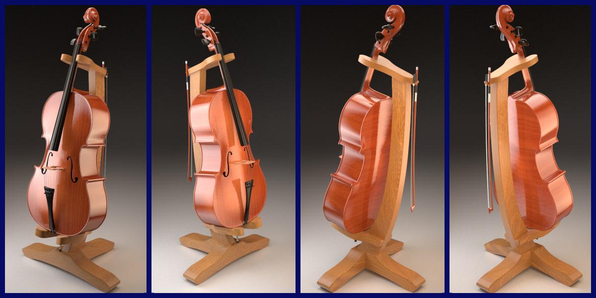 3d model violoncello bow stand cello