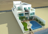 cinema4d beach villa