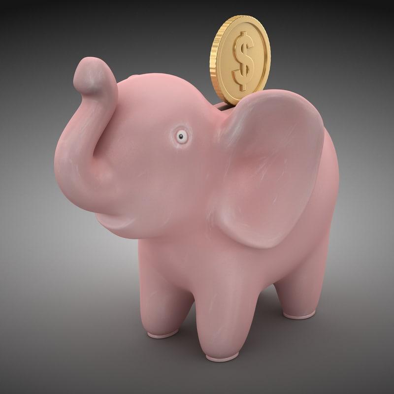 3d model elephant bank