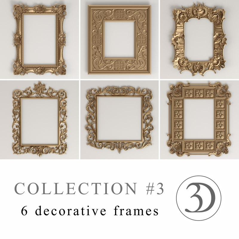 3 6 decorative frames 3d model