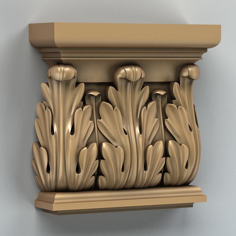 3d model carved column capital
