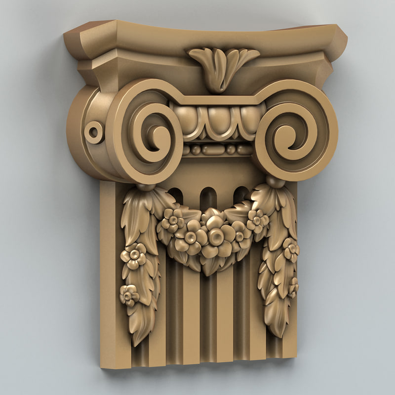 3d carved column capital model
