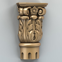 3d carved column capital model