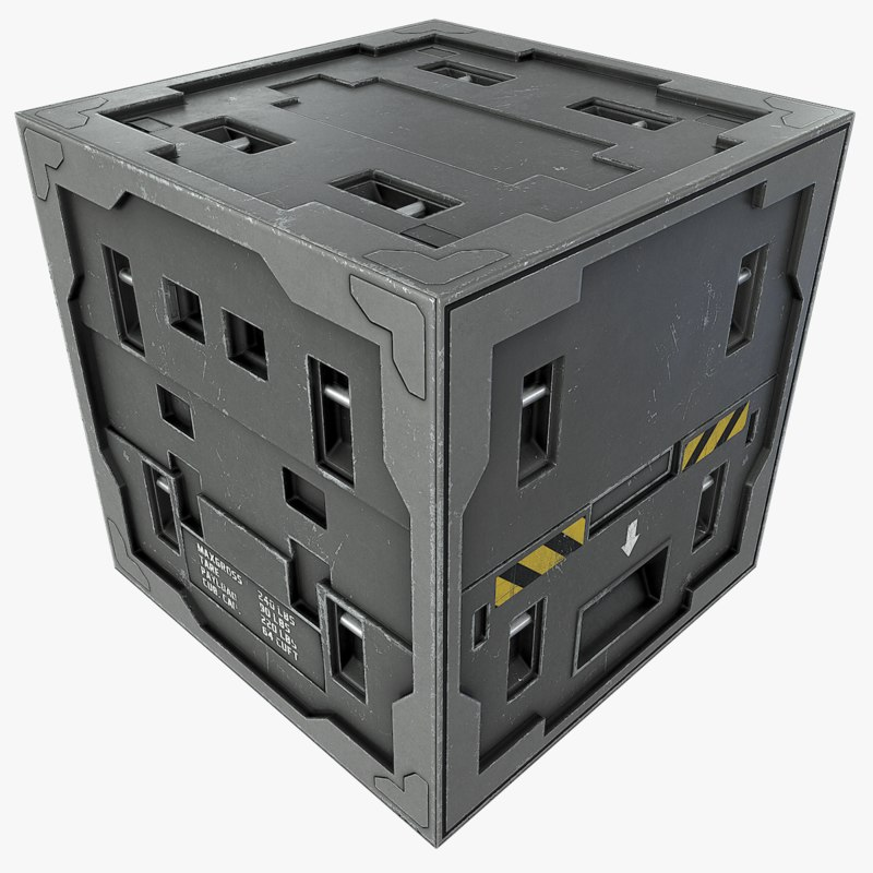 3d metal crate model