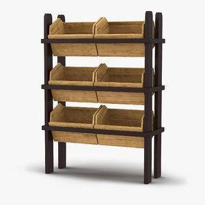 3d model of bakery display shelves 3
