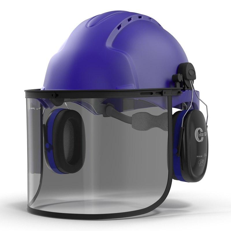 3d model safety helmet 2 blue