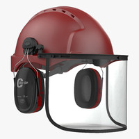3d model safety helmet 2 red