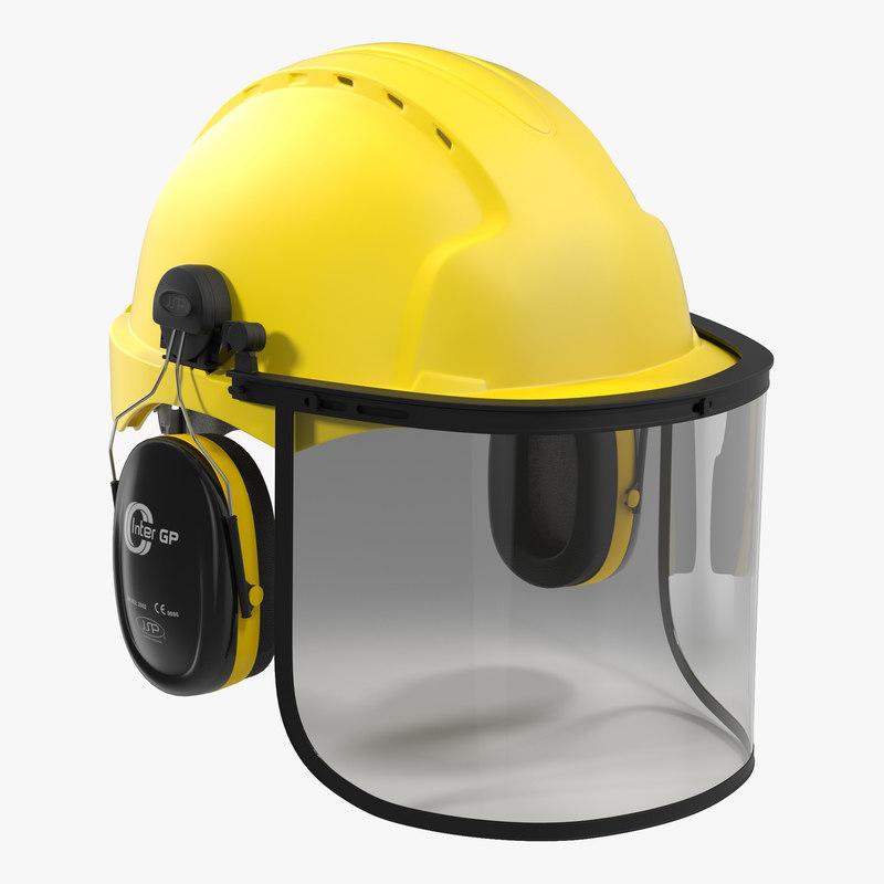3d model safety helmet 2 yellow