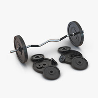 Barbell and Plates 3D Model