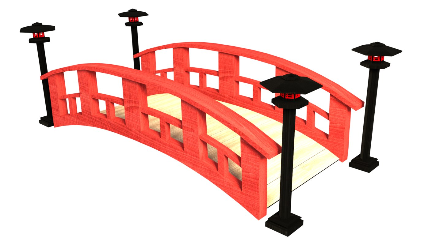3d model japanese bridge