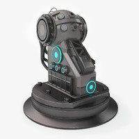 3d model turret base sci-fi