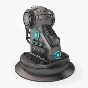 3d model turret base sci-fi