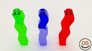 free obj mode curly glass bottle