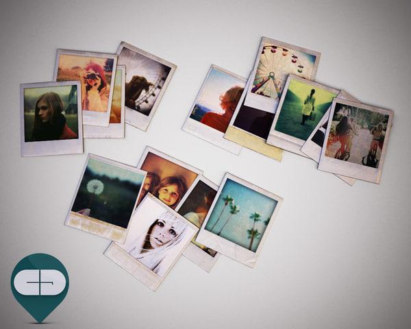 3dsmax polaroid photo set