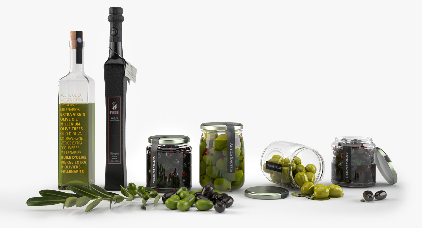 3d model olive oil set