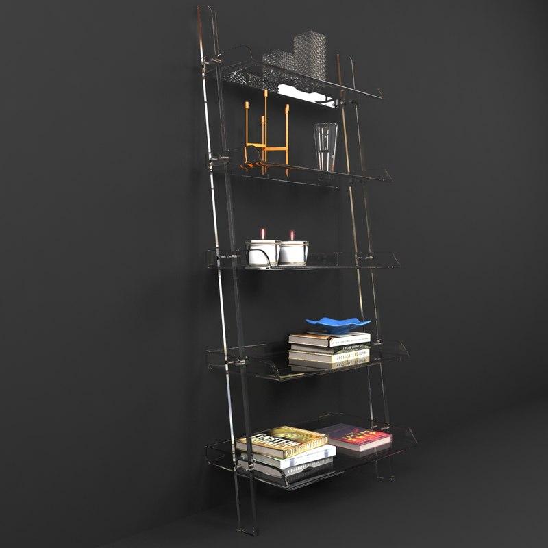 3d model bookshelf acrylic leaning