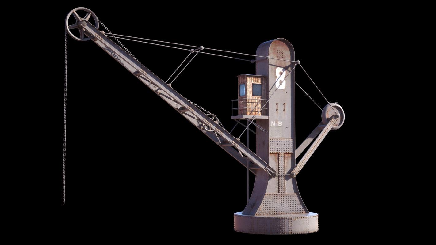3d model crane harbor