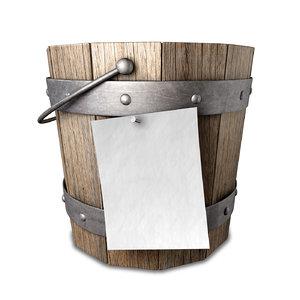 3d model of vintage wooden bucket