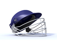 3d model blue cricket helmet