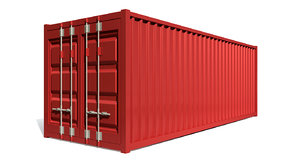 red shipping container 3d c4d