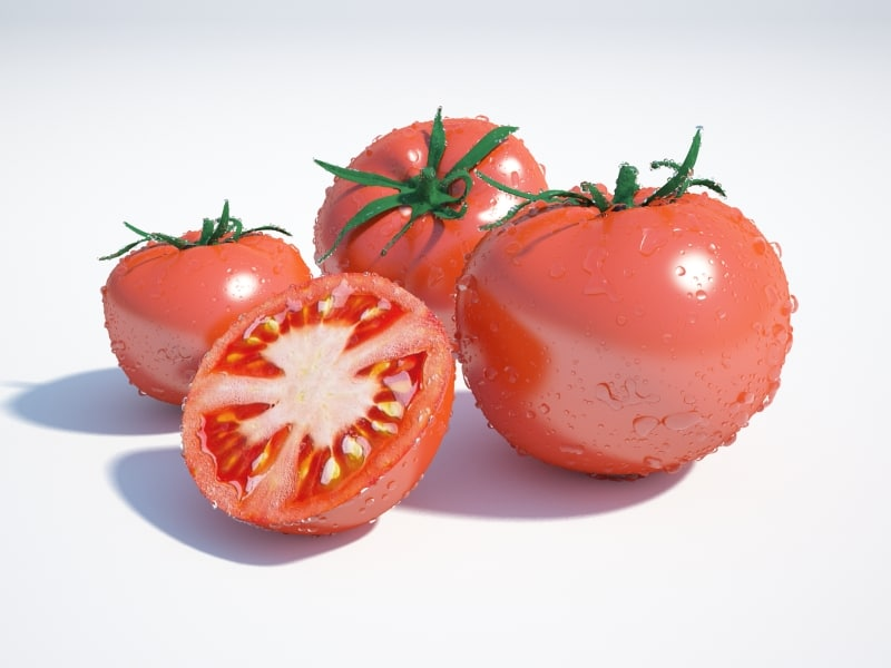 3d model tomatoes water drops