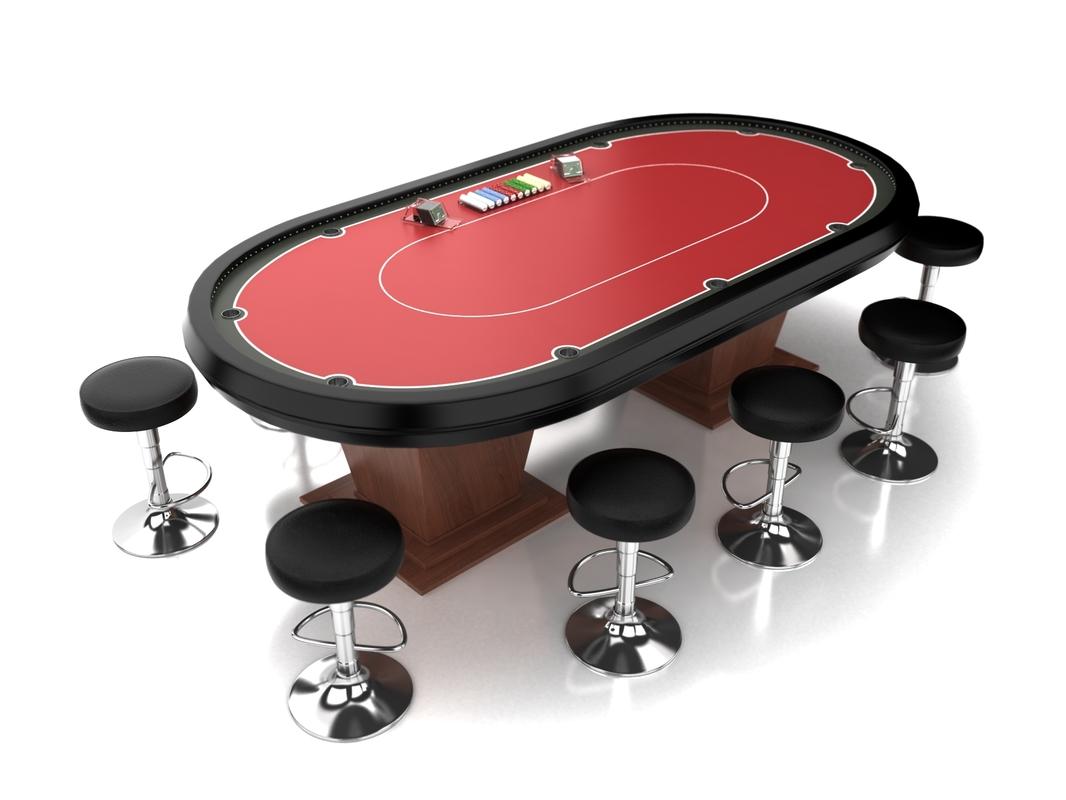 3d model poker table set