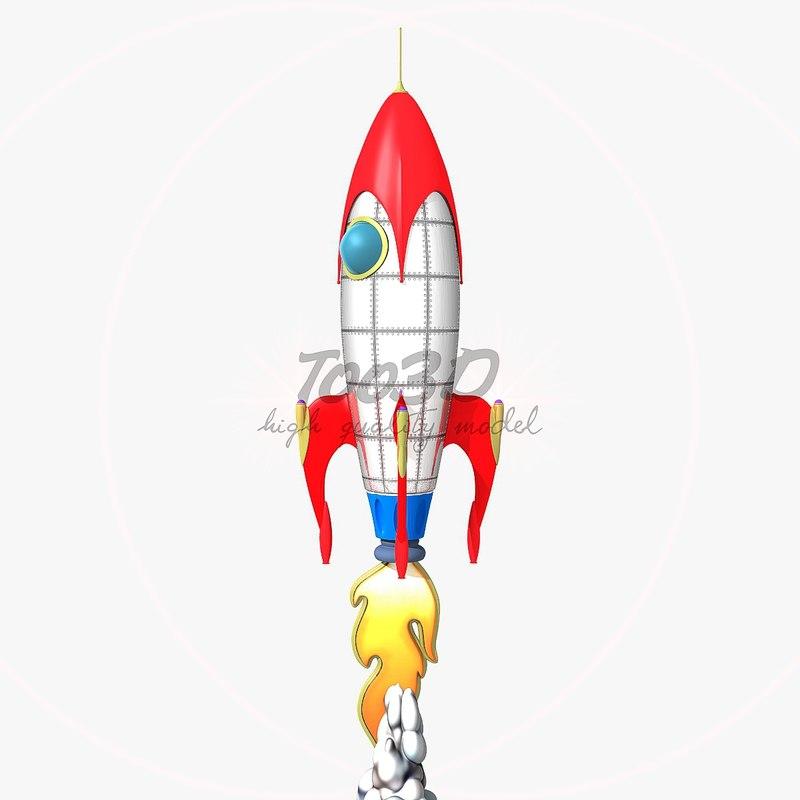 3d model rocket toon
