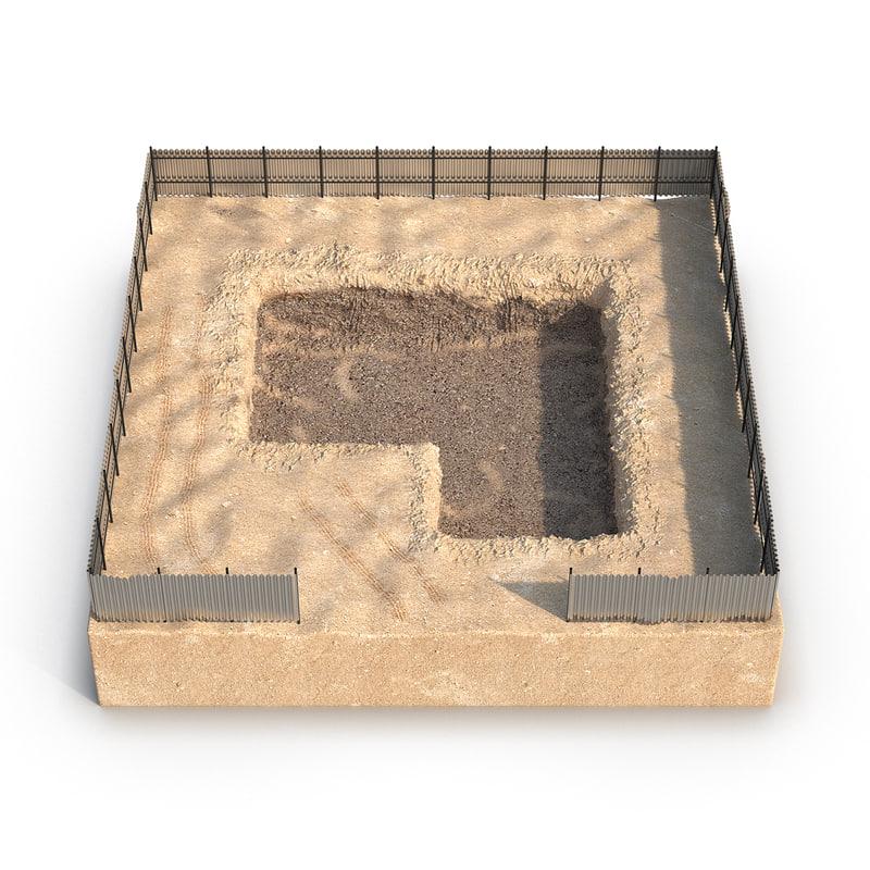 construction pit 4 3d max