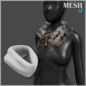 collar fur 3d obj