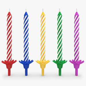 realistic birthday candles 3d model